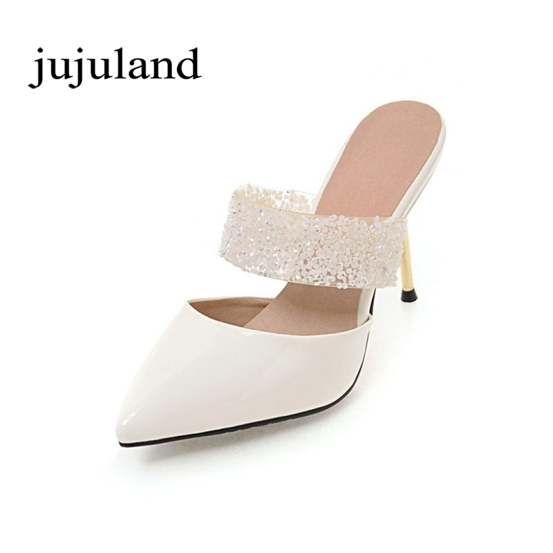 Spring/Autumn Women Pumps Mules Shoes Patent Leather Casual Fashion Slip-On Pointed Toe Big Size Lazy Shoes Shallow Thin Heels enmayer spring autumn women fashion wedding pumps shoes rhinestone beading pointed toe slip on thin heels large size 34 43 white