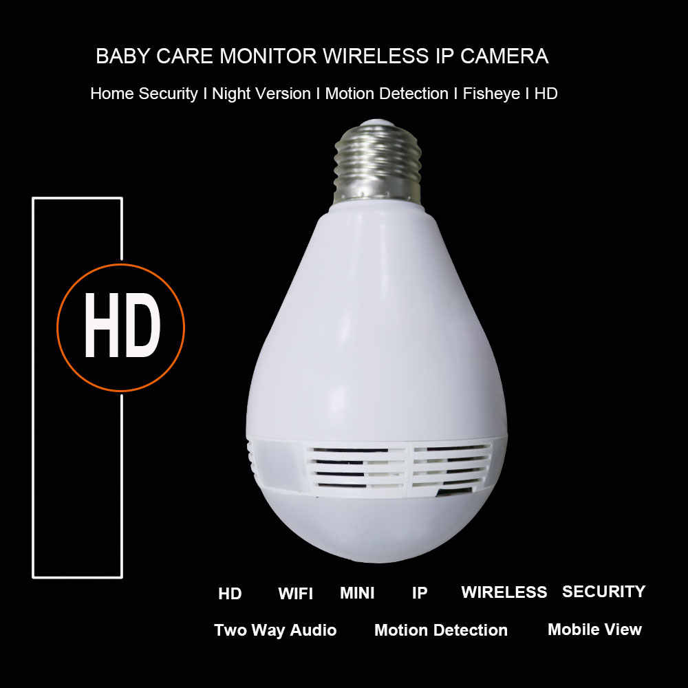 YuBeter 960P Panoramic WiFi Camera 360 Degree Wireless Network Camera Bulb Fisheye Lens Home Security CCTV Video Surveillance