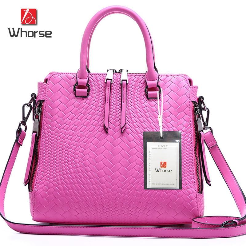 ФОТО [WHORSE] Brand Logo Fashion Weave Design Genuine Leather Women Handbag Shoulder Messenger Bags High Quality Women's Bag WA50564