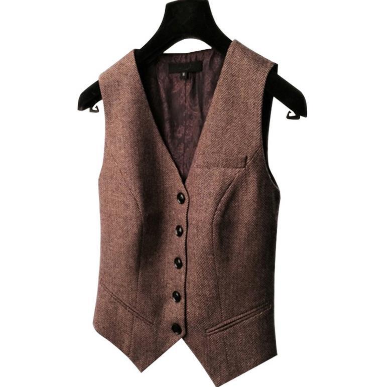 Spring New Suit Vest Ladies Waistcoat Short Jacket Casual Ol Coat Women