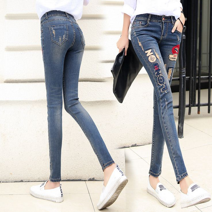 2016 New Lip Denim Pants Ripped Hole Elastic Ladies Skinny Pencil Pantsembroidery Lips Letter Jeans Trousers For Women Jeans Women Bottom ! Plus Size Women's Clothing & Accessories