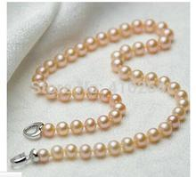 Women Gift Freshwater  Strand 8-9mm pink pearls necklace freshwater cultured pearl 18