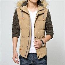 2017 Men's imported fabrics spell color cotton hooded fur collar men down padded coat wholesale Korean Slim