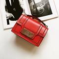 New 2017 women's fashion cute handbag European and American style rivet and Twist lock vintage bag  high quality leisure bag