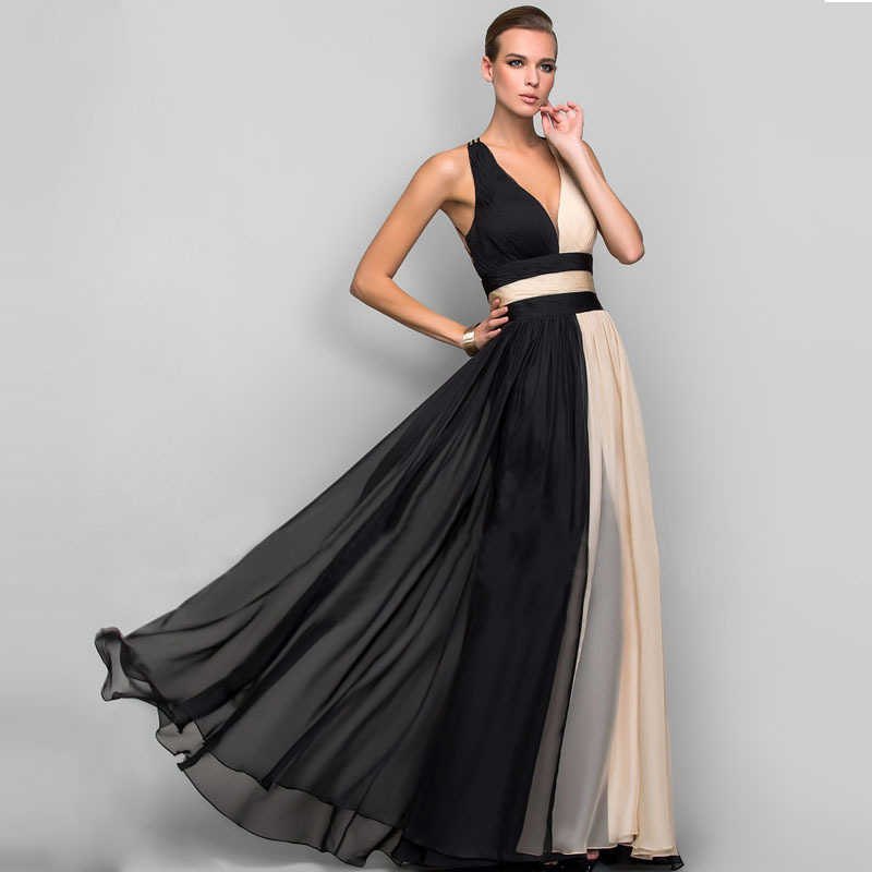 Elegante V-hals Lange Avond Party Jurk Vrouwen Chiffon Jurken Hollow Out Backless Formele Jurken Dames Zwart Maxi Vestidos