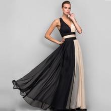 Elegant V-Neck Long Evening Party Dress Women Chiffon Gowns Hollow Out Backless Formal Dresses Ladies Black Maxi Vestidos