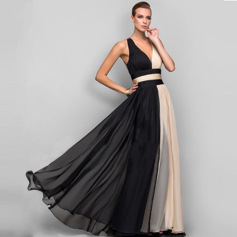 164567e35 Cheap Elegante vestido de fiesta de noche con cuello en V para mujer  Vestidos de gasa