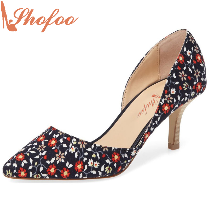 Shofoo Women Sexy Med High Heels Pointed Toe Pumps Woman Dress&Party&Evening Slip-on Flower Mix of Curve Embroider Shoes 4-16  shofoo newest women shoes med heels pointed toe pumps for woman dress