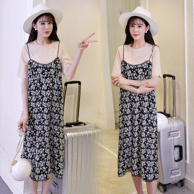 99a44629c6f2 2018 fashion Pregnant women dress summer new Korean short-sleeved T-shirt +  fresh floral strap dress two sets of maternity dress