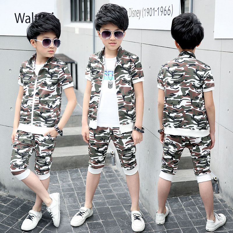 Boys Clothes Sets 2018 Summer Children Clothing Camouflage Short Sleeves Coat+Shorts 2pcs Boy Sport Suit 4 6 8 10 12 14 15 Years