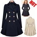 Женщины осень тонкий пальто с длинным рукавом отложным воротником женщины базовая пальто женский взрыв кнопки плиссе зимнее пальто T317
