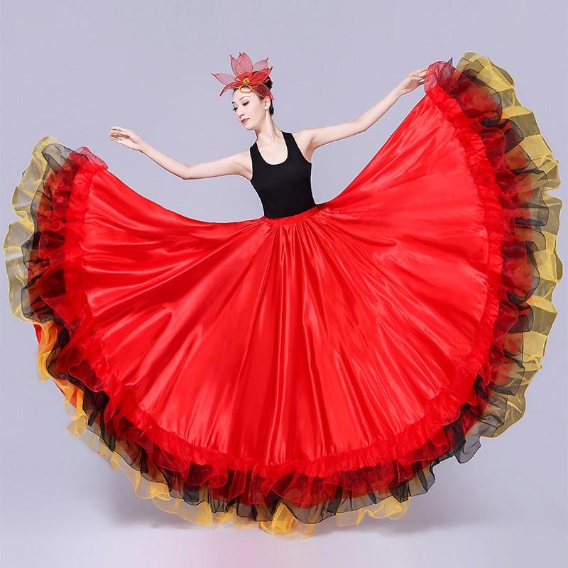 Red Flamengo Dance Long Skirt Women Gypsy Flamenco Skirts Woman Spanish Dance Costumes Lady Bullfighting Dancer Clothes DN3050