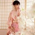 2016 Новый Традиционный Японский Равномерное Одежда Цветок Печати Без Головных Уборов Сцена Юката Женщин Костюм Кимоно
