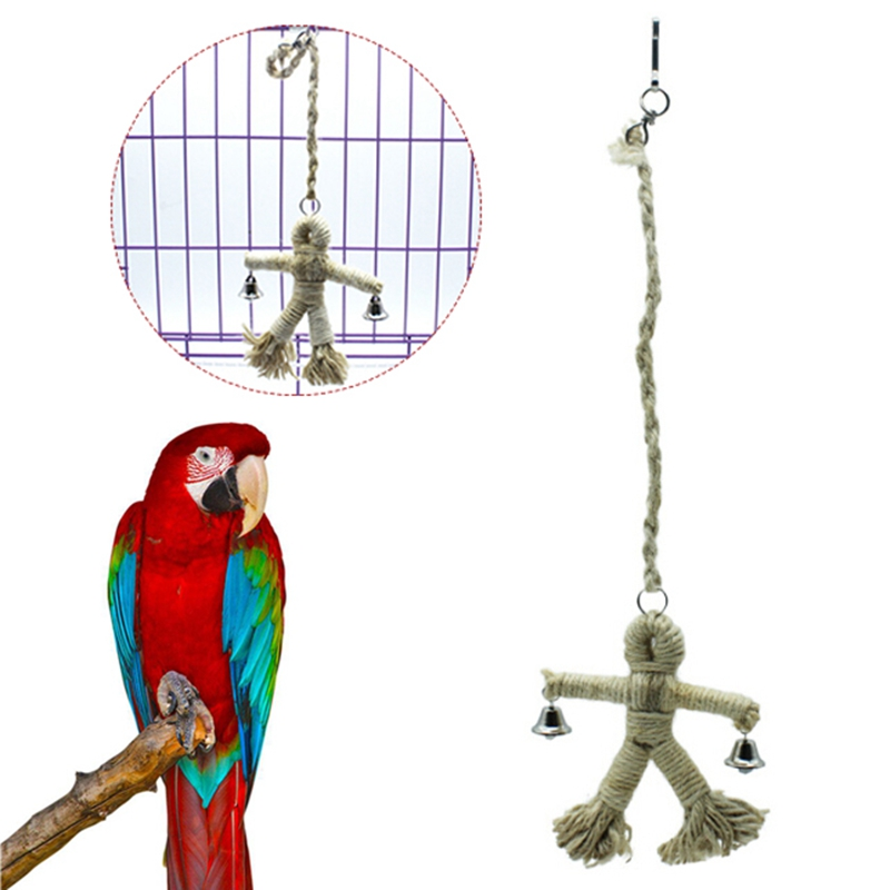 Bird Supplies New Creative 1 Pcs Pet Bird Parrot Toy Swing Hanging Toy Human Design Chew Toy Hang Rope Bird Playing Supplies Parrot Bite Toy Pet Products
