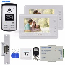 DIYSECUR 7 inch Video Door Phone Kit 1V2 + Strike Lock + Remote Control + Exit Button + Keyfobs + PSU