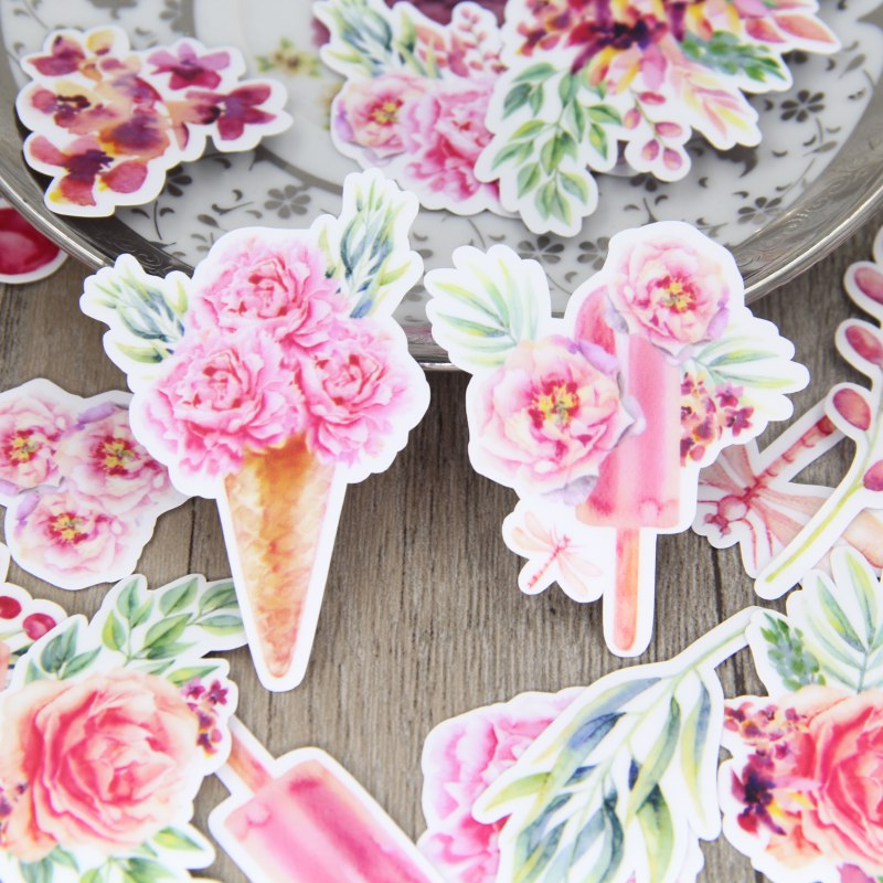 24pcs Watercolor Pink Flower Icecream Cone Sweet Scrapbooking Stickers Floral Plant Wreath Diary DIY Decorative Sticker Pack