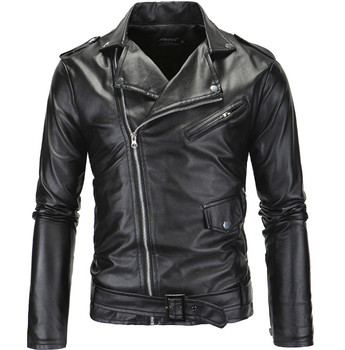 Spring Fashion Motorcycle Leather Jacket Men Slim Fit Oblique Zipper PU Jacket Autumn Men Leather Jackets Coats Black White 1