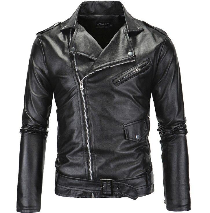 Spring Fashion Motorcycle Leather Jacket Men Slim Fit Oblique Zipper PU Jacket Autumn Men Leather Jackets Coats Black White мужские кожанные куртки с косой молнией