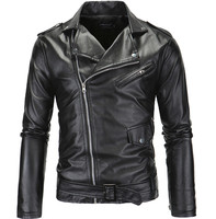 Spring Fashion Motorcycle Leather Jacket Men Slim Fit Oblique Zipper PU Jacket Autumn Men Leather Jackets Coats Black White