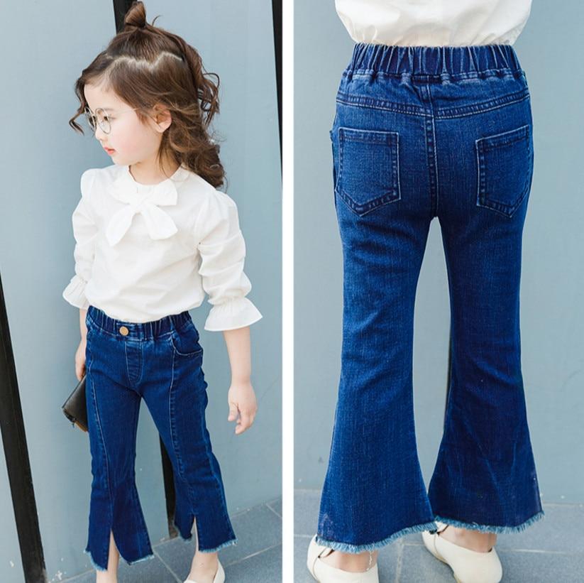 CANIS Kids Girls Denim Strap Bib Flare Pants Blue Jeans