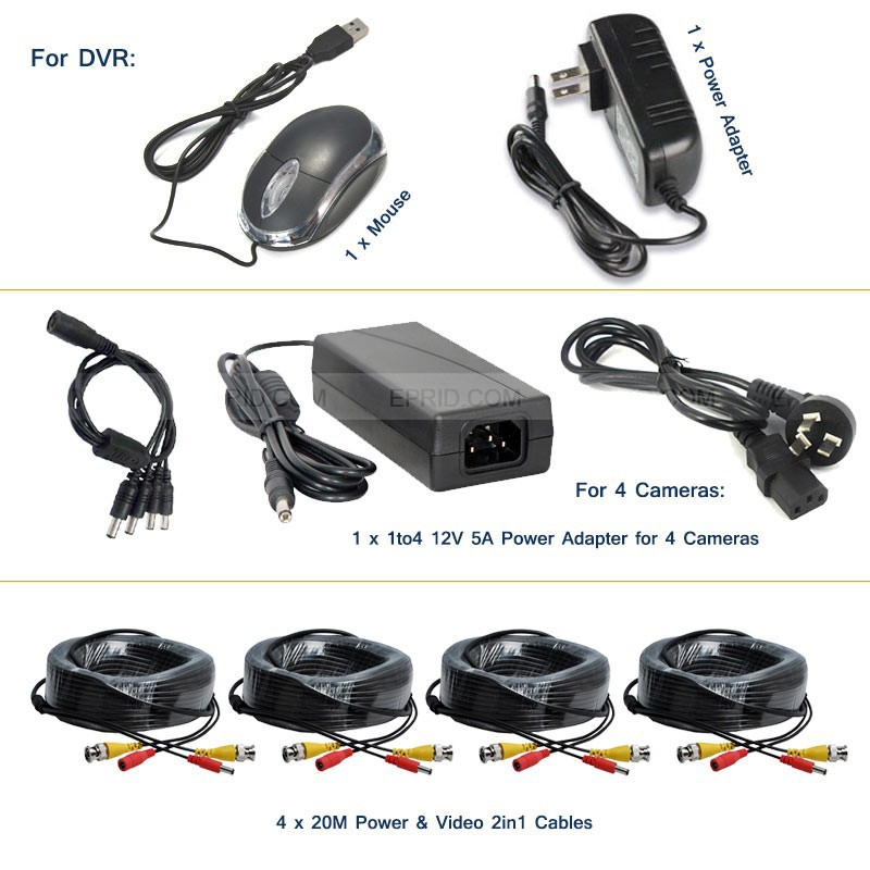 4CH AHD-H 1080P Full Real Time DVR 2.0MP Indoor Camera CCTV Security System