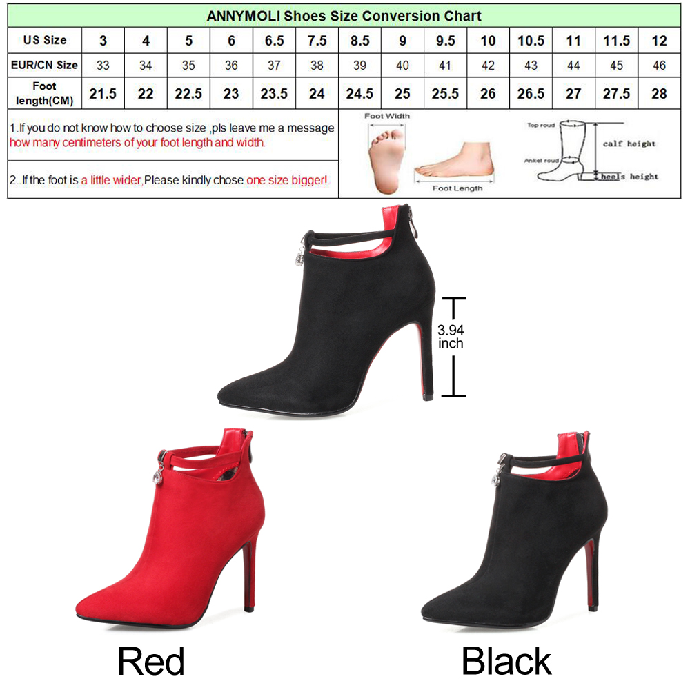 2de0108f24c ANNYMOLI Women Ankle Boots Winter Crystal High Heels Boots Buckle Pointed  Toe Thin Heel Short Boots Spring Shoes Black Red 34 43-in Ankle Boots from  Shoes ...