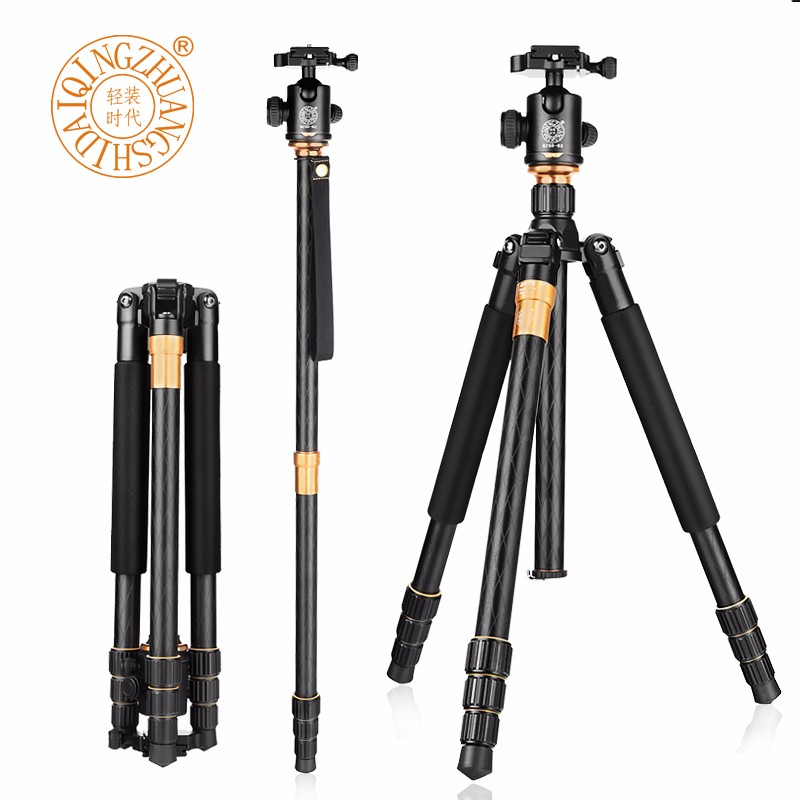 QZSD Q999 Portable Phototgraphy Travel Tripod For DSLR Camera Professional Tripod Ball Head Detachable Monopod Load Bearing 15KG free shipping qzsd q999 portable tripod