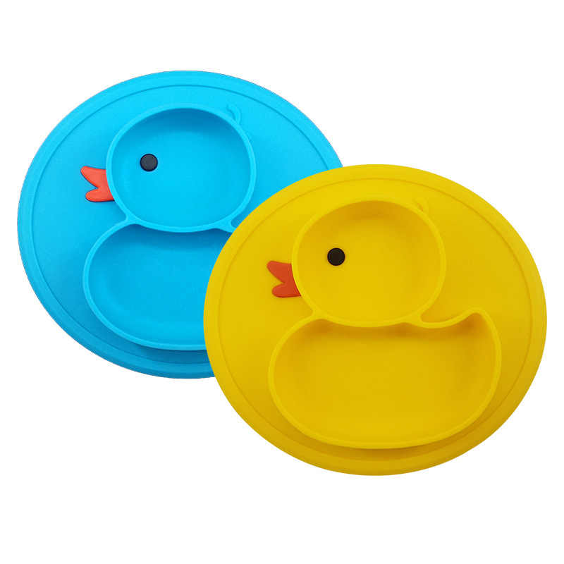 baby kids plate yellow duck plate cute children anti-slip integrated partition plate convenient  food grade silicone duck pad