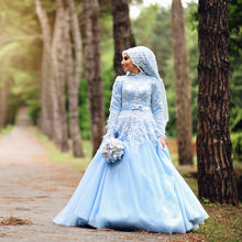 MZY1542 light blue long sleeves hijab veil lace flowers floor length high neck muslim wedding dress