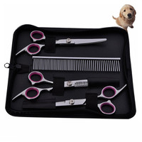 Pet Stainless Steel Hair Scissors Hairdressing Cutting Supplies Shears Dog Comb Haircut Machine Cat Dog Beauty Set Groom Suit
