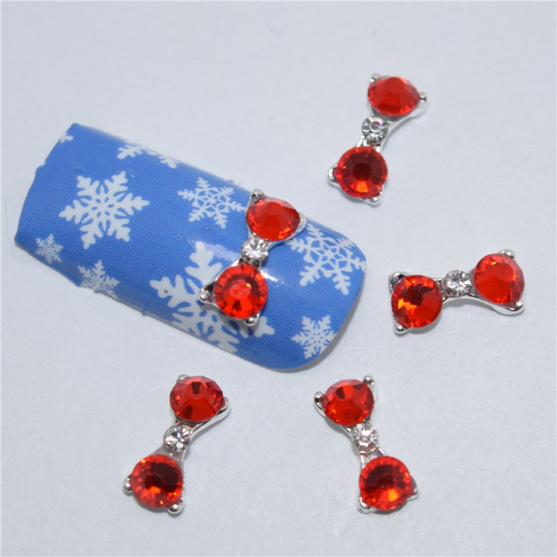 3d Metal Alloy Nail Art Decoration/charms/studs,nails 3d Jewelry #146 Excellent In Cushion Effect Beauty & Health Honest 10pcs New Red Rhinestone Glitter Bow