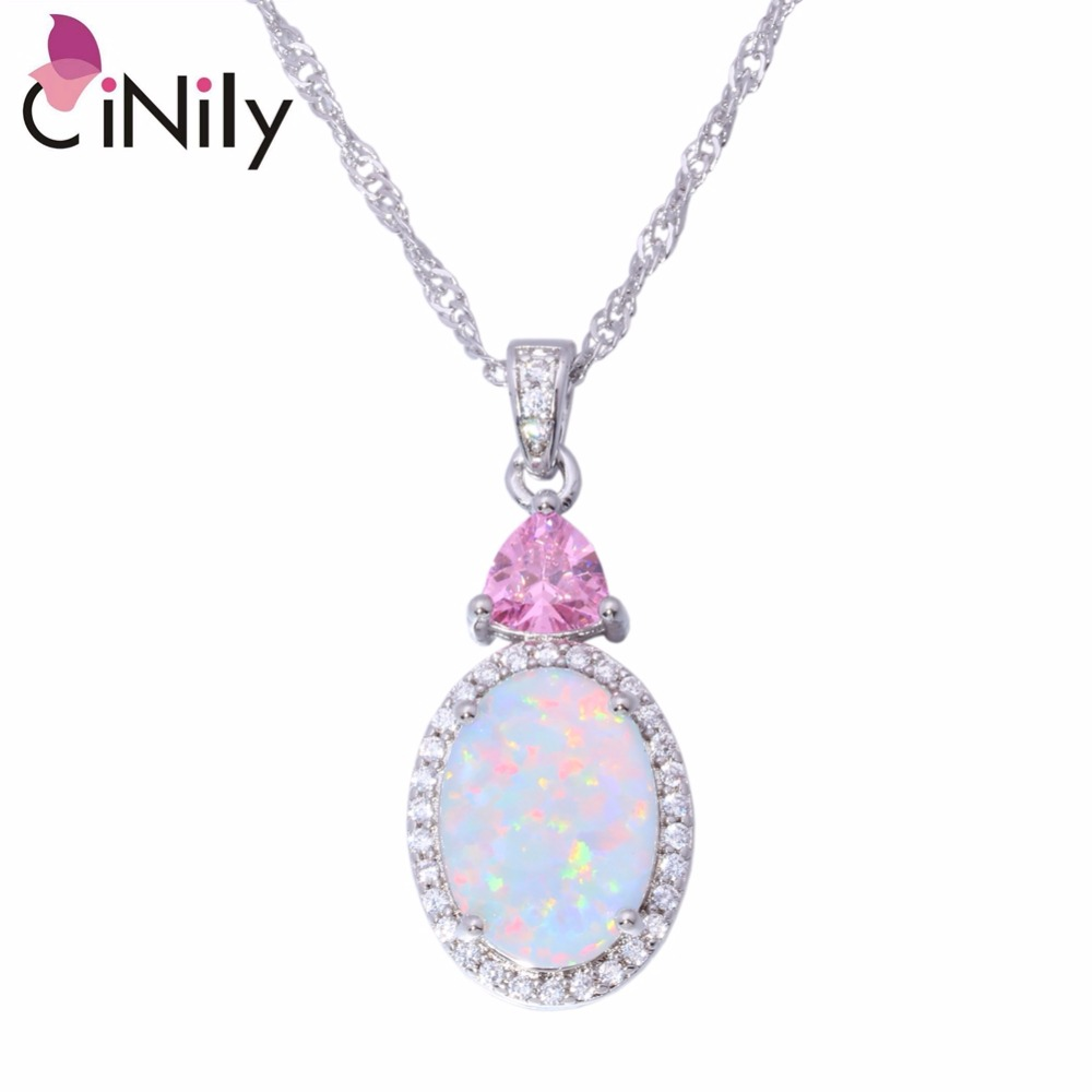 CiNily Created White Fire Opal Pink Purple Zircon Cubic Zirconia Silver Plated Wholesale Women Jewelry Pendant 1 1/4 OD6664-65