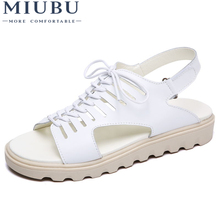 MIUBU Women Sandals Shoes Flats Genuine Leather Lace up Peep Toe Ladies Low Heels Sandals Summer Shoes gladiator sandals Beach