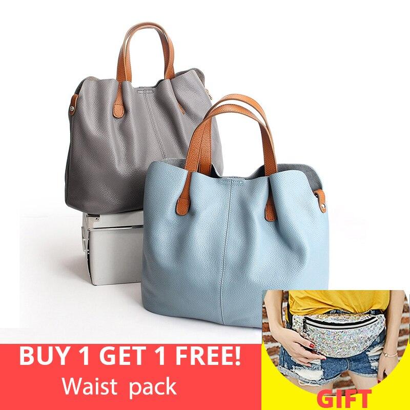 Genuine Leather handbag head layer cowhide women handbags fashion Portable shoulder messenger bags composite bags New