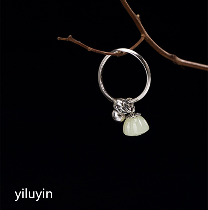 Tian Yu White Jade Lotus Flower Ring Rational Kjjeaxcmy Boutique Jewelry S925 Sterling Silver Inlaid Lady High Grade Jaunt Ring Durable In Use
