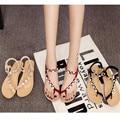 Envío libre 2016 del ocio del verano femenino sandalias de cuña zapatos de diamantes elásticos estudiantes sandalias