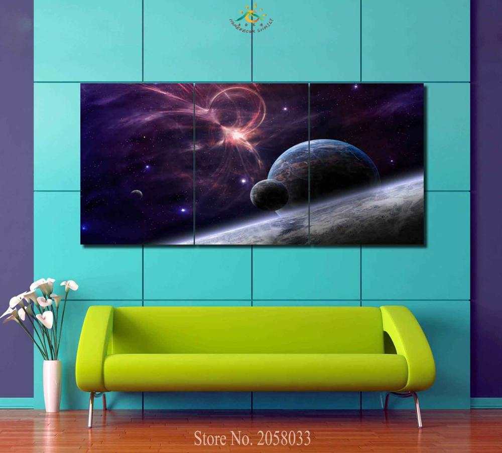 Planets Wall Art 3 4 5 Pieces Planets In Space Modern Wall Art Pictures Hd Printed Canvas Painting Modular Pictures Hd Paints Home Decoration In Painting Calligraphy