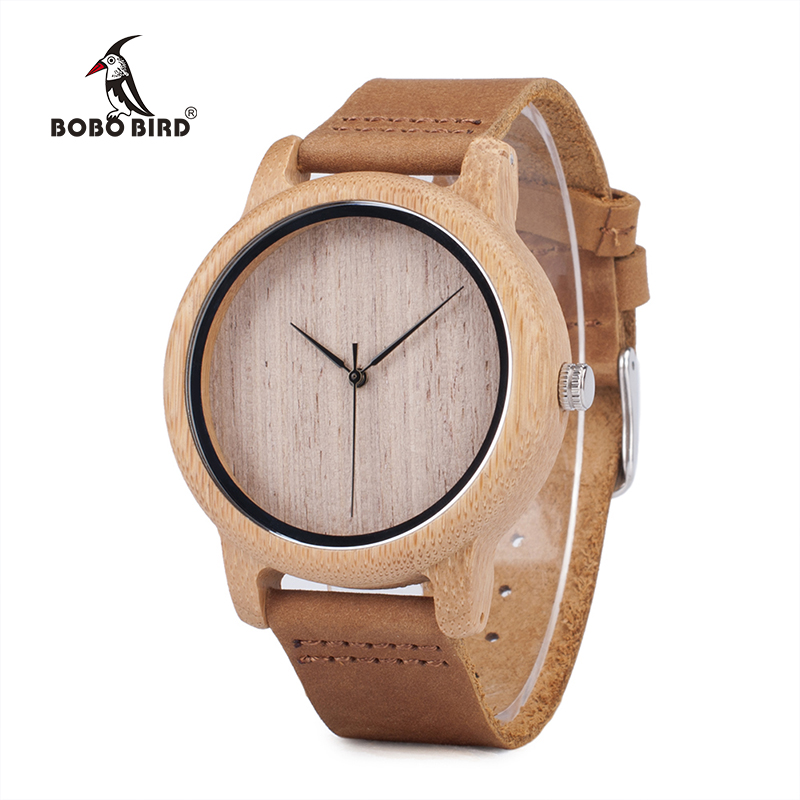 BOBO BIRD L-A19 Women Bamboo Wooden Watch For Men Real Leather Strap Quartz Watch For Woman In Gift Box Accept OEM Dropshipping
