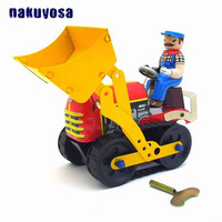 Classic Bulldozer Collection Wind up Metal Tin Toys Childhood Memory Bulldozer Robot Mechanical Retro Clockwork Walking Toys