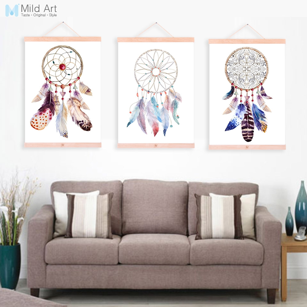 Indian Vintage Dreamcatcher Feather Wooden Framed Canvas Paintings ...
