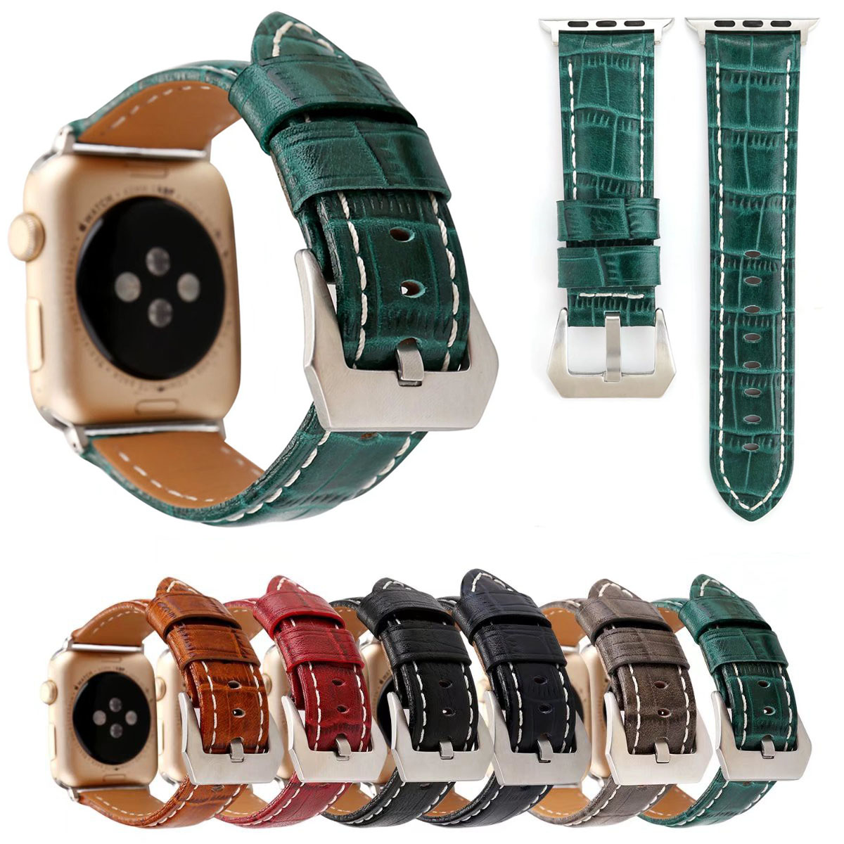 Retro Style Crocodile Real Leather Band for Apple Watch iWatch Series 1/2/3 Strap 42mm 38mm Genuine Leather Wristband Accessory band for apple watch 38mm 42mm character modeling style genuine leather strap for iwatch series 1 2 3 strap gift for iphone case