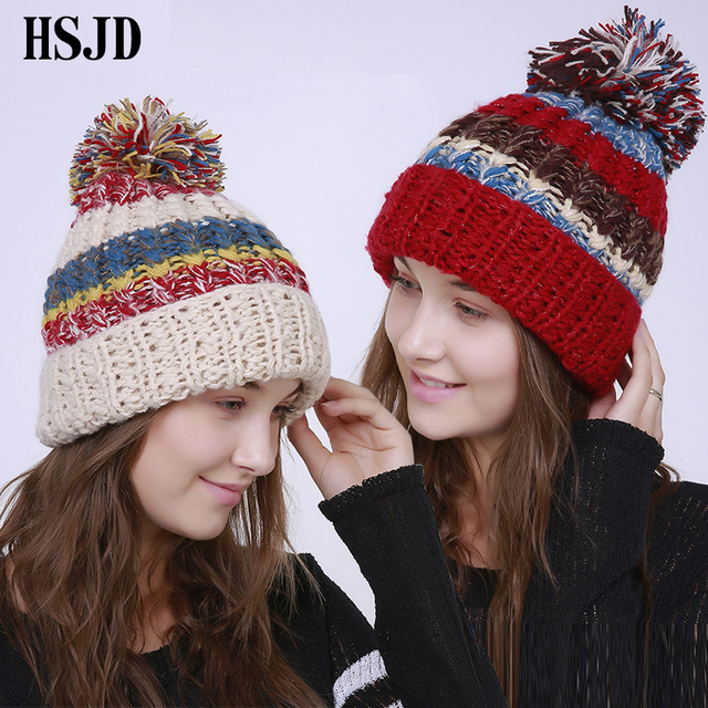 Winter Fashion Big Pom Pom Hat For Women Grils Skullies Women s Beanies  Handmade Crochet Color stripes Warm Knitted Hats Female e35d7afe6