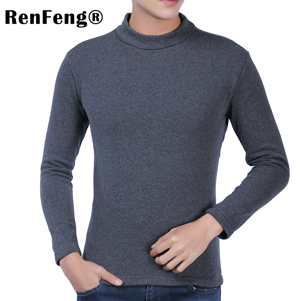 Men Long sleeves cotton t shirt autumn high neck casual fashion clothing Slim fit elasticity male Fitness tees tops Under shirt (1)