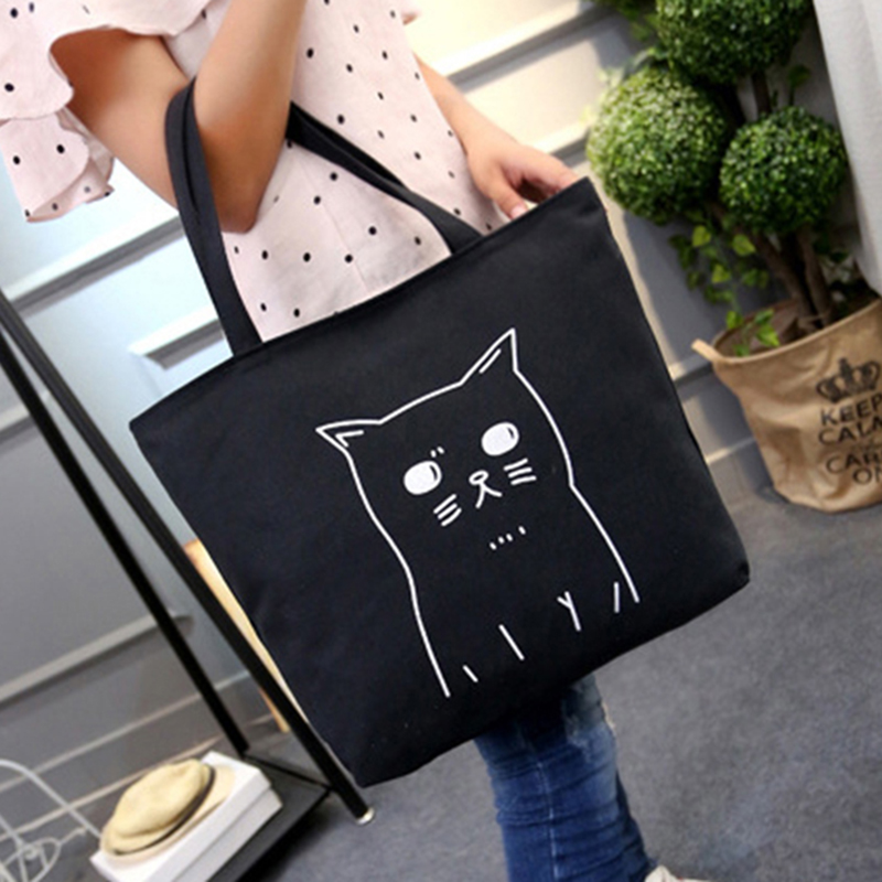 Ladies Shoulder Cat Bag Travel 2017 Canvas Cats Tote For Luxury Handbags Women Bags Designer Shopping Bag Zipper Janpan Black