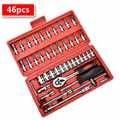 Socket Ratchet Wrench Set 46pcs 1/4-Inch Car Repair Tool Ratchet Set Torque Wrench Combination Bit Set of Keys Chrome Vanadium