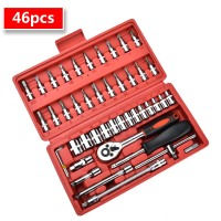 Socket Ratchet Wrench Set 46pcs 1/4 Inch Car Repair Tool Ratchet Set Torque Wrench Combination Bit Set of Keys Chrome Vanadium