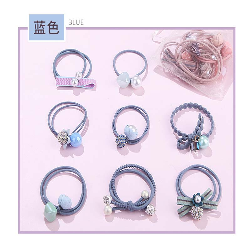 2018 1Set 8pcs New Fashion Elastics Hair Band For Women Girl Hair Accessories Solid Rubber Hairband With Pearl Ponytail Hol in Women 39 s Hair Accessories from Apparel Accessories
