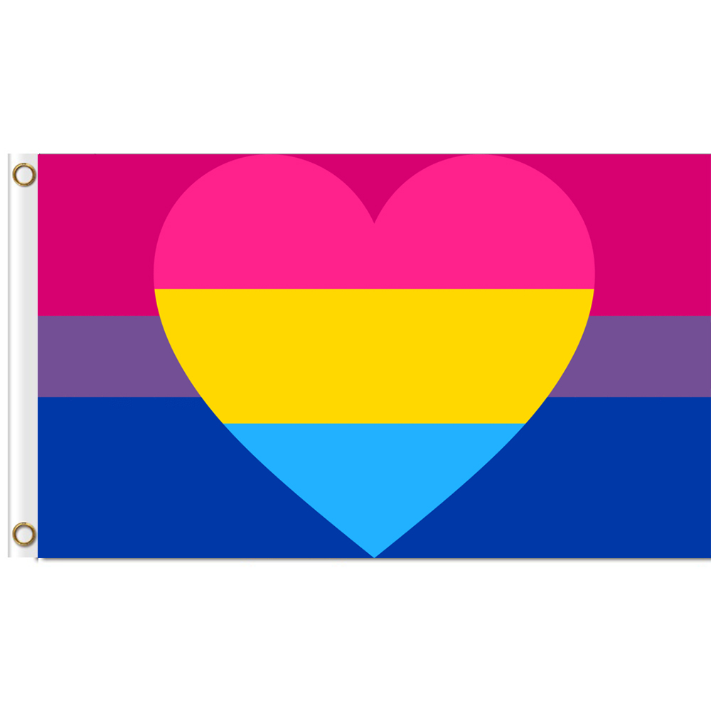 <font><b>Bisexual</b></font> Panromantic Combo <font><b>Flag</b></font> 3x5 ft Printed Polyester Large Gay <font><b>Pride</b></font> LGBT <font><b>Flag</b></font> image