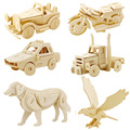 3D Wood Puzzles kids Vehicle car DIY Puzzles Wood Toys for  Children and Adults  Handmade Learning Educational Game Toy