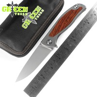 Green thorn F95 Flipper tactical folding knife KVT system D2 blade Titanium + Sandalwood handle outdoor camping knives EDC tools